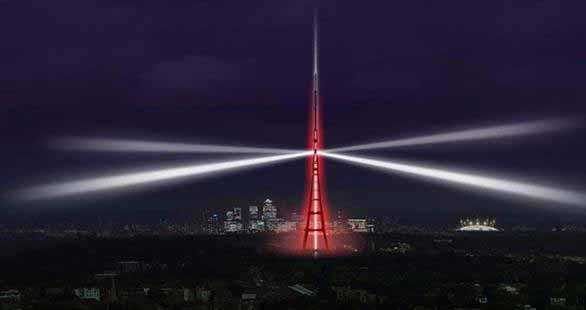 Londres: Instalación lumínica para marcar el traspaso a la transmisión digital