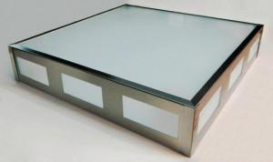 Lomas LuxPlafón acero con vidrio grande